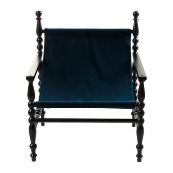 Heritage Wooden Armchair - Black/Blue