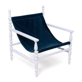 Heritage Wooden Armchair - White/Blue