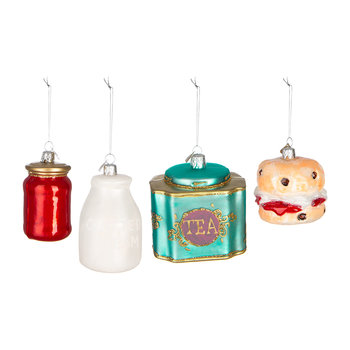 Little English Cream Tea Tree Decoration - Set of 4