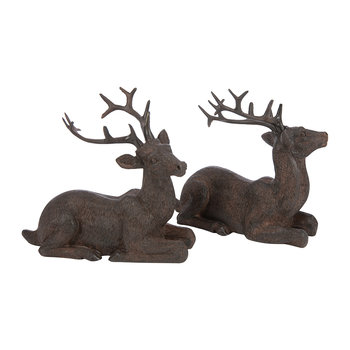 Nilan Sitting Deer Ornament - Set of 2 - Chocolate