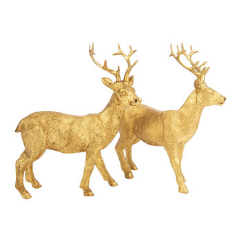 Nilan Standing Deer Ornament - Set of 2 - Brass
