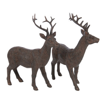 Nilan Standing Deer Ornament - Set of 2 - Chocolate