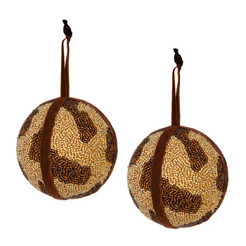 Set of 2 Beaded Animal Print Tree Decorations