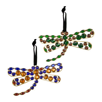 Set of 2 Dragonfly Tree Decorations