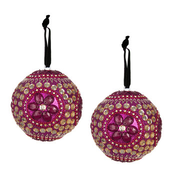Set of 2 Embellished Tree Decorations - Fuchsia