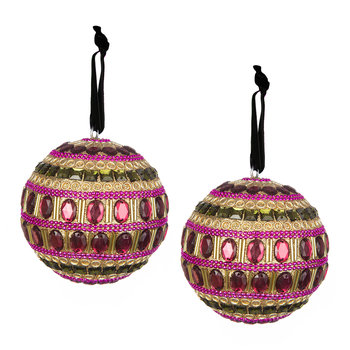 Set of 2 Embellished Tree Decorations - Ruby