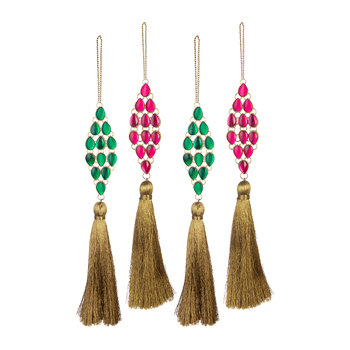 Set of 4 Tasseled Jewel Tree Decorations