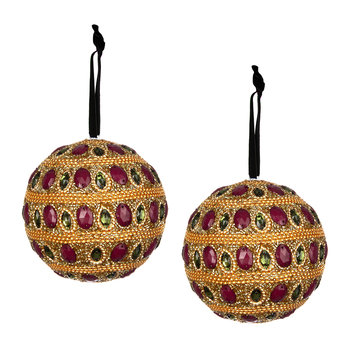 Set of 2 Embellished Tree Decorations - Topaz
