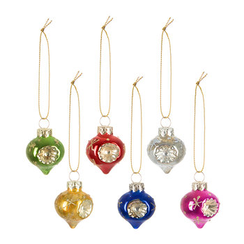 Assorted Mini Dimpled Baubles - Set of 6