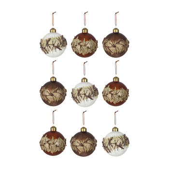 Assorted Baubles with Branches - Set of 9