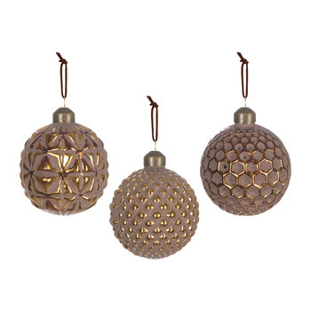 Cut-out Baubles - Set of 3 - Brown