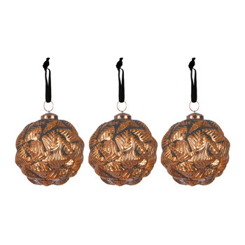 Set of 3 Brass Horn Tree Decorations
