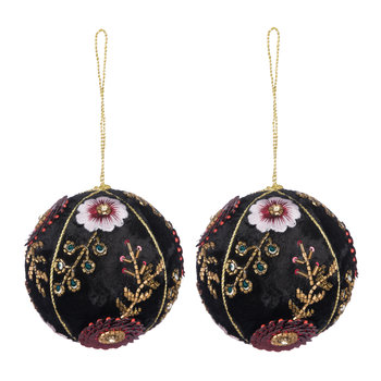 Set of 2 Embroidered Tree Decorations - Black