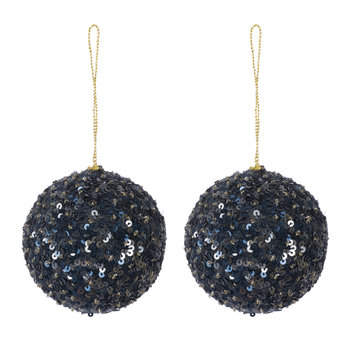 Set of 2 Scalloped Sequin Tree Decorations - Navy