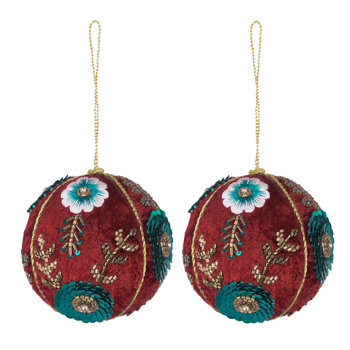 Set of 2 Embroidered Tree Decorations - Red