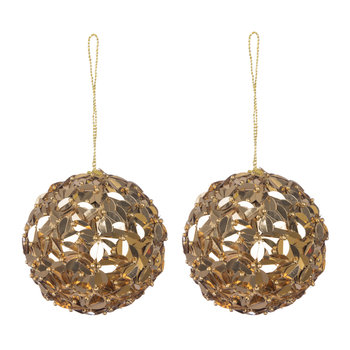 Set of 2 Sequin & Bead Tree Decorations - Old Gold