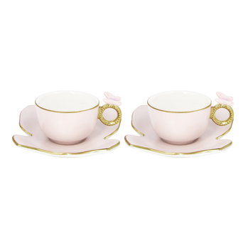Butterfly Coffee Box - Set of 2 Cups & Butterfly Saucers - Baby Rose