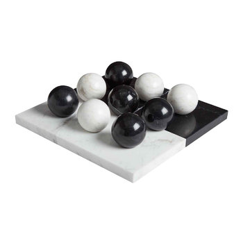 Canaan Marble Tic-Tac-Toe Set - Black/White