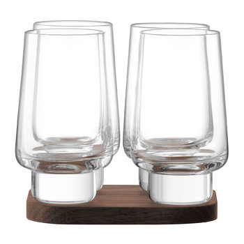 City Bar Vodka Glass & Walnut Coaster - Set of 4