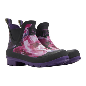 Women's Wellibob Short Wellies - Black Winter Floral
