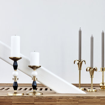 Elvin Candle Holder - Brass/Black