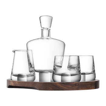 Whisky Cut Connoisseur Set & Walnut Serving Tray