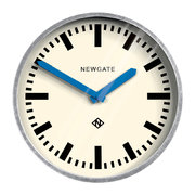 the-luggage-galvanised-wall-clock-blue-hands