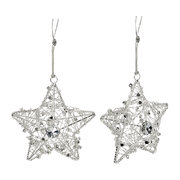 wire-star-with-beads-tree-decoration-set-of-2-silver