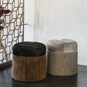 cowhide-chain-pouf-black-copper