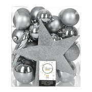 set-of-33-assorted-baubles-and-tree-topper-silver