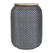 halo-storage-basket-with-wooden-plate-dark-grey