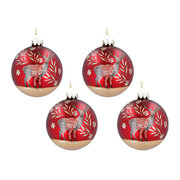 stag-glass-ball-tree-decoration-set-of-4-red