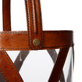 Luxe - Large Leather & Glass Hurricane - Tan