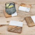 Retreat - Marble & Wooden Coasters - Set of 4