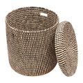 The Basket Room - Yule Hand Woven Check Laundry/Storage Basket - Black - S