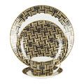 Royal Crown Derby - Broadway Charger Plate - Black/Gold/White