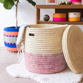 The Basket Room - Hapa Hand Woven Color Block Laundry/Storage Basket - Dusty Pink - S