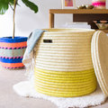 The Basket Room - Vipi Hand Woven Colour Block Laundry/Storage Basket - Yellow - M
