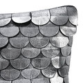 Luxe - Leather Scalloped Pillow - 35x35cm - Silver