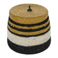 Global Explorer - Black & White Stripe Seagrass Basket With Lid