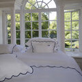 Reed Family Linen - Scallop Bed Set - White/Charcoal - Super King