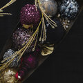 AMARA Christmas - Sequin Glass Bauble - Set of 3 - Aubergine