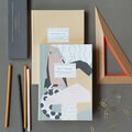 Katie Leamon - A5 Notebook & Pencil Set - Set Of 2 - Abstract & Mustard