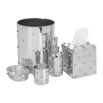 Nova Jeweled Glass Bathroom Accessory Set - Silver