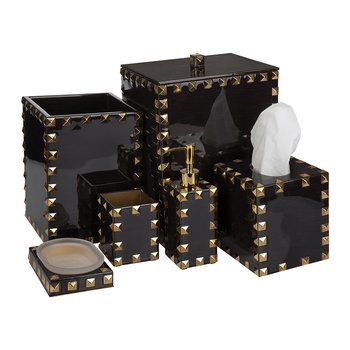 Magnus Bathroom Accessory Set - Carved Chestnut & Gold