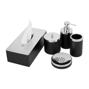 Combo Dark Wood Bathroom Accessory Set