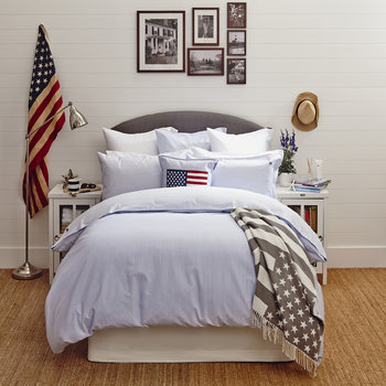 Pinpoint Bed Linen - Blue/White