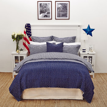 Pinpoint Bed Linen - Navy/White
