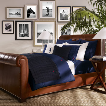 Polo Player Bed Linen - Navy with Red Logo