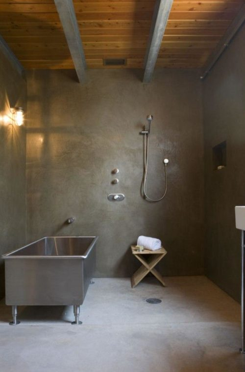 Concrete Wall Bathroom - Hawk Interiors